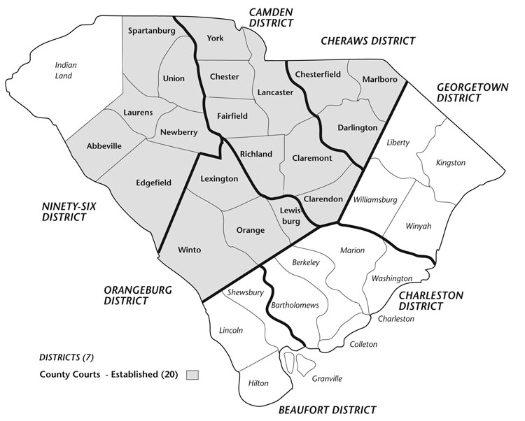 SC Districts and Counties 1785
