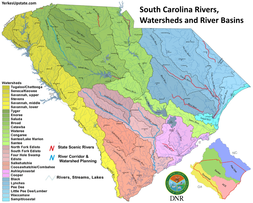 SCDNR Rivers, Watersheds and River Basins Map